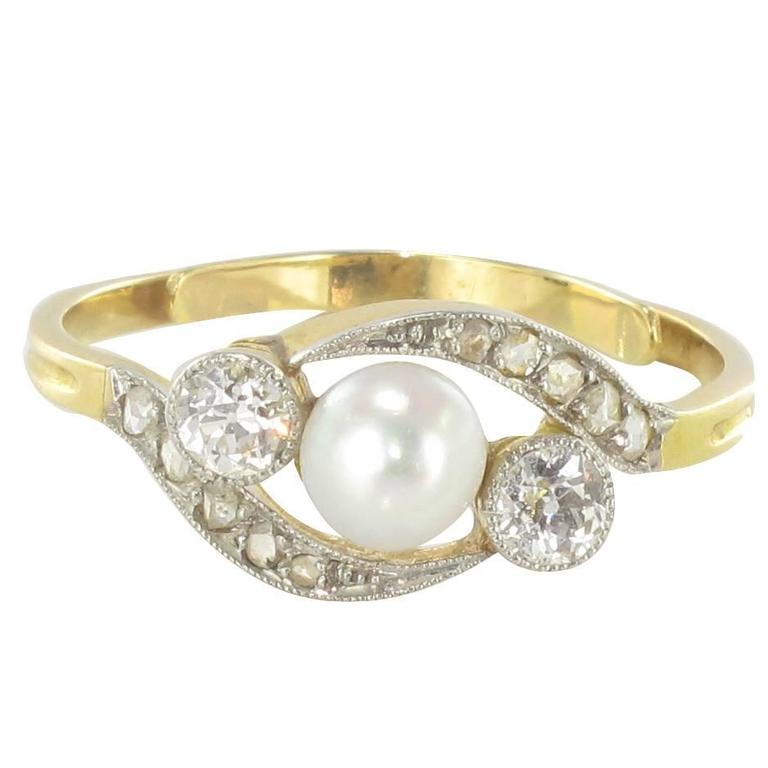 19th Century Antique Pearl and Diamond Ring at 1stdibs