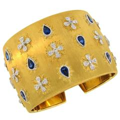 Mario Buccellati Sapphire Diamond Gold Cuff Bracelet