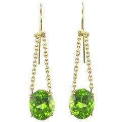 Peridot and Golden Chain Dangle Earrings