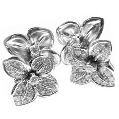 Mikimoto Diamond Gold Flower Earrings
