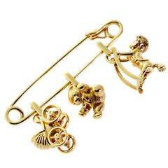 Cartier Gold Safety Pin Charm Brooch