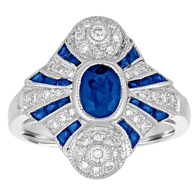 1.20 Carats Blue Sapphire Diamond Gold Ring