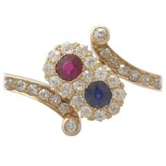 1890s 0.45 Carat Ruby and Sapphire, 1.50 Carat Diamond, 14k Yellow Gold Bangle