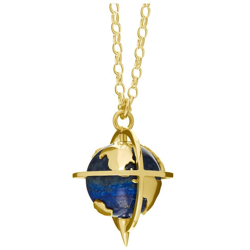Lapis Lazuli Gold Spinning Globe Pendant And Chain For