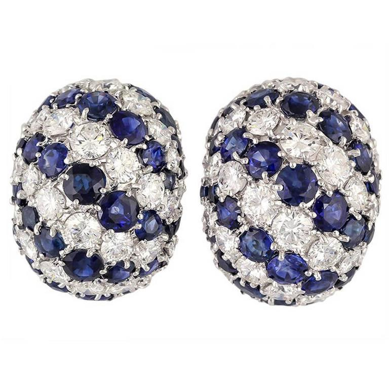 Sapphire Diamond Gold Dome Earrings For Sale