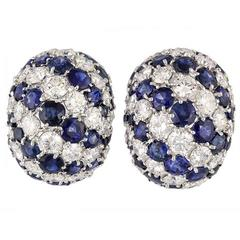 Sapphire Diamond Gold Dome Earrings