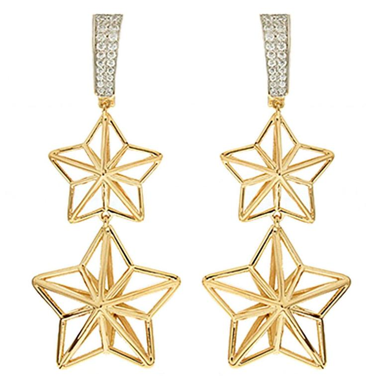 Valentin Magro Double Star Dangling Diamond Gold Earrings