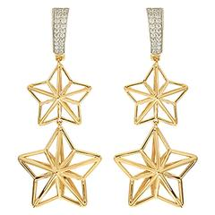 Double Star Dangling Diamond Gold Earrings