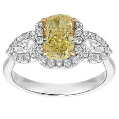 Radiant Cut Fancy Yellow and White Diamond Gold Halo Ring