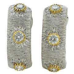 .60 Carat Diamond Gold Hoop Earrings