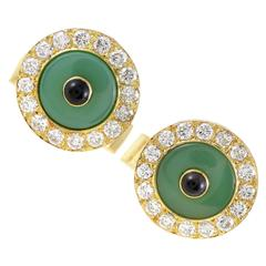 Boucheron Enameled Onyx Yellow Diamond Gold Cufflinks