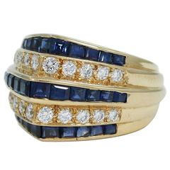 Oscar Heyman Sapphire Diamond Gold 3 Tier 5 Row Ring
