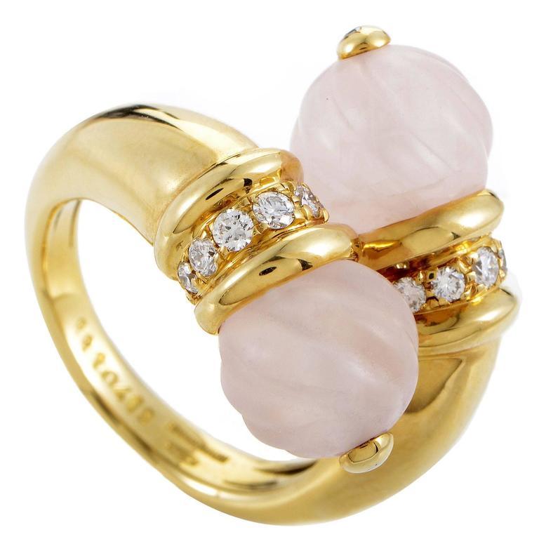 Boucheron Crystal Diamond Gold Bypass Ring