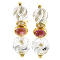 Boucheron Crystal Gemstone Gold Earrings