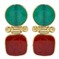 Green Onyx Carnelian Intaglio Gold Earrings