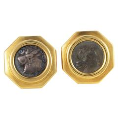 Bulgari Monete Ancient Coin Gold Cufflinks