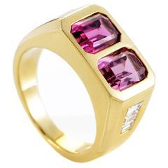 Bulgari Pink Tourmaline Diamond Gold Ring