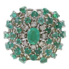 Luise White Agate Emerald Diamond Gold Ring
