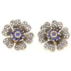 Sapphire Diamond Gold Floral Earrings