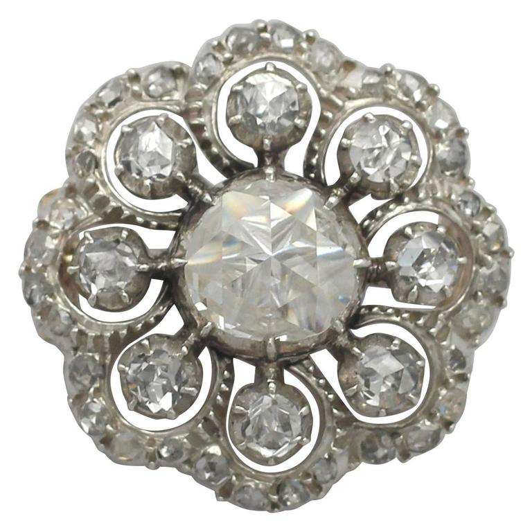 Antique Victorian 1.86 Carat Diamond and 14k Yellow Gold Brooch