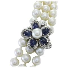Luise Pearl Sapphire Diamond Gold Necklace