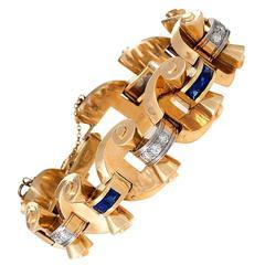 J.E.Caldwell 1950's Diamond, Sapphire and Gold Link Bracelet