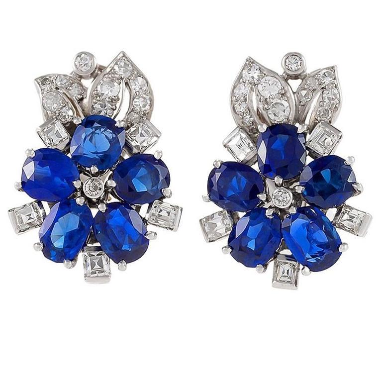 1930s Retro Diamond, Blue Sapphire and Platinum Flower Earrings