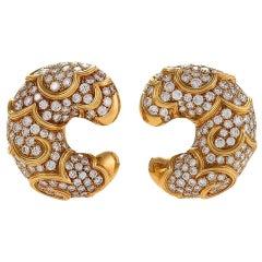 """Marina B Italian Diamond and Gold """"Onda"""" Earrings"""