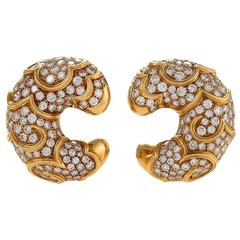 "Marina B Italian Diamond and Gold ""Onda"" Earrings"
