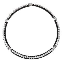 Marsh Mid 20th Century Patinated Steel, White Gold and Cultured Pearl Necklac