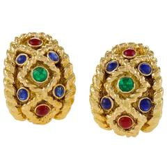 David Webb 1970's Sapphire, Ruby. Emerald and Gold Earrings