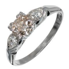 Art Deco Natural Light Brown Diamond Three-Stone Platinum Engagement Ring