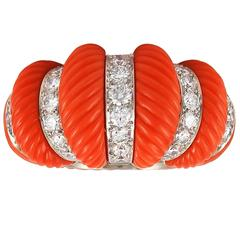 1960s Cartier Paris Coral Diamond Platinum Ring