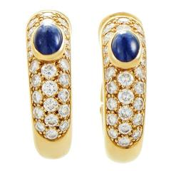 Cartier Sapphire Diamond Pave Gold Petite Hoop Earrings