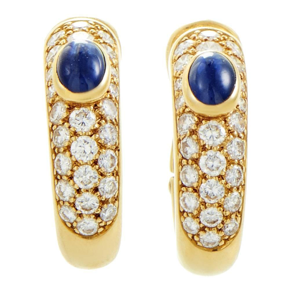 Yafa signed jewels new york ny 1stdibs page 4 - Cartier Sapphire Diamond Pave Gold Petite Hoop Earrings