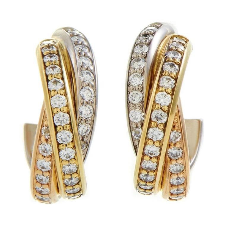 Cartier Trinity Diamond Pave Tricolor Gold Earrings For