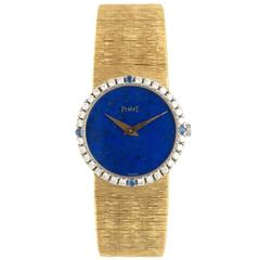 Piaget Ladies Yellow Gold Diamond Lapis Dial Wristwatch