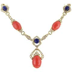 G. Pettochi Coral Sapphire Diamond Necklace and Earrings Set