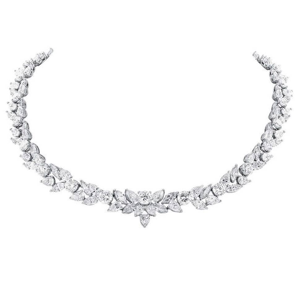 48 95 carats fancy shape diamonds platinum necklace for