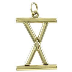 Roman Numeral Ten Gold Charm