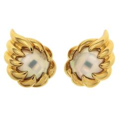 Mabe Pearl Gold Fireball Earrings