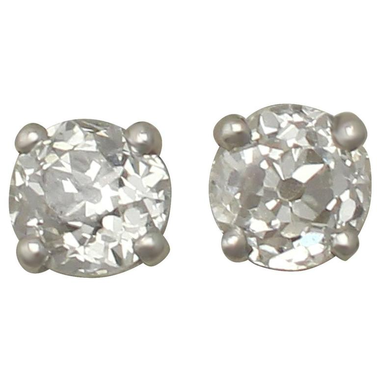 Antique And Contemporary Diamond Platinum Stud Earrings For