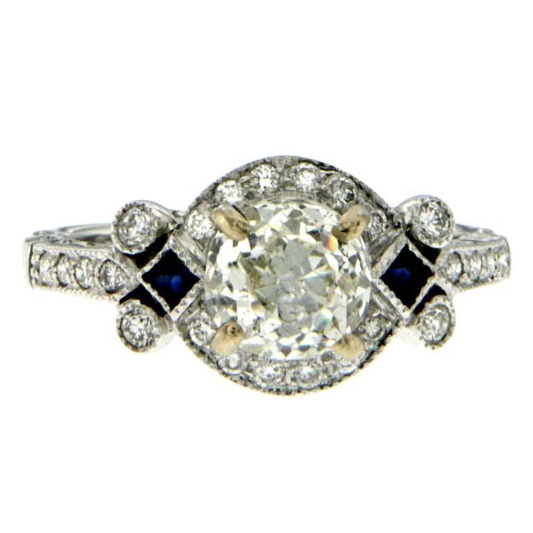Antique Diamond Sapphire Gold Engagement Ring