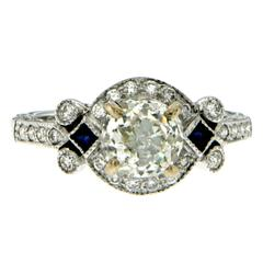 Antique Diamond Sapphire Gold Engagement Ring