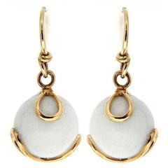 Carina White Jade Gold Earrings
