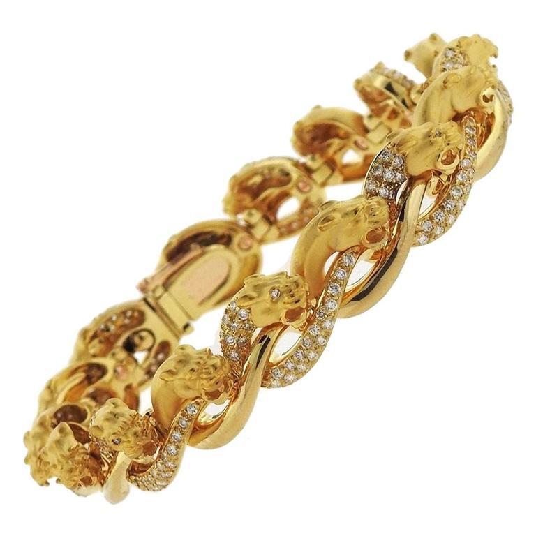 Carrera Y Carrera Diamond Gold Panther Bracelet