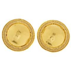 Ilias Lalaounis Hammered Gold Clip-on Earrings