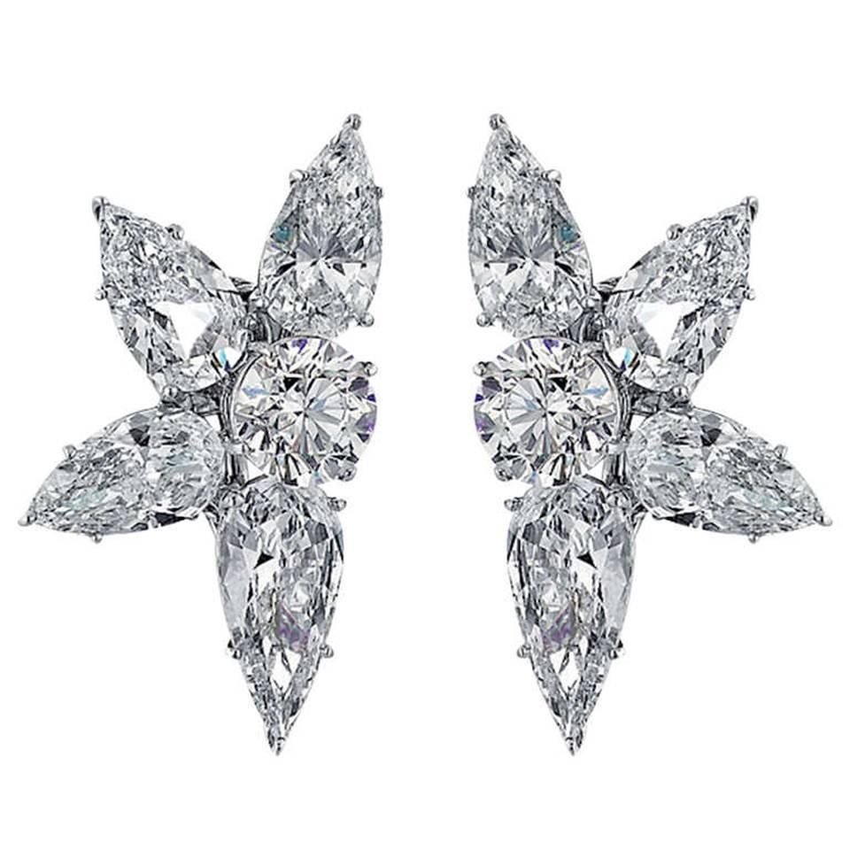 Cartier Diamond Cluster Earrings in Platinum