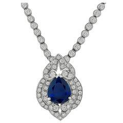 Enticing 3.50 Carat Sapphire Diamond Gold Drop Necklace