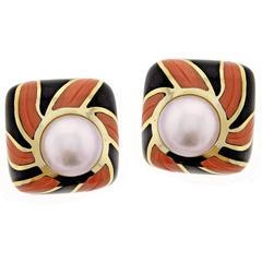 Tiffany & Co. Coral Onyx Pearl Gold Earrings